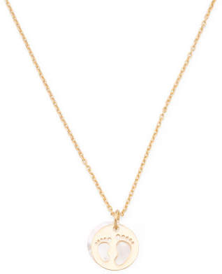 Made In Italy Gold Plated Sterling Silver Mop Baby Feet Necklace