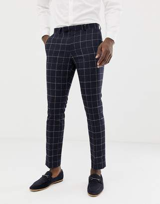 Moss Bros skinny pleated suit trousers in windowpane check