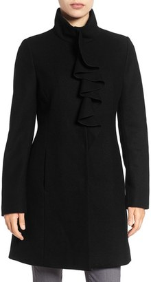 Women's Tahari Kate Ruffle Wool Blend Coat $258 thestylecure.com