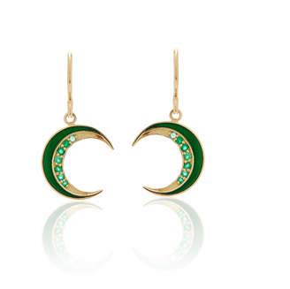Andrea Fohrman Crescent Emerald Earrings