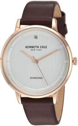 Kenneth Cole New York Women's Quartz Stainless Steel and Leather Casual Watch, Color Brown (Model: KC50010001)