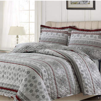 Tribeca Living Snowmitten Cotton Flannel Printed Oversized King Quilt Set