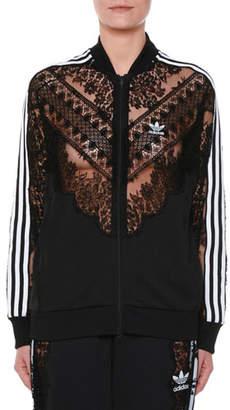 Stella McCartney Zip-Front Sweatshirt Jacket w/ Lace Inset