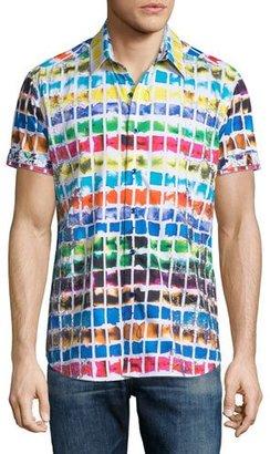 Robert Graham Rainbow Basin Short-Sleeve Sport Shirt $248 thestylecure.com