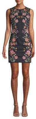Alice + Olivia Floral Embroidery Sheath Dress