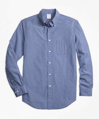 Brooks Brothers Regent Fit Navy Check Seersucker Sport Shirt