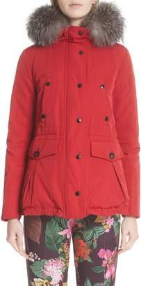 Moncler Macareaux Down Coat with Removable Genuine Fox Fur Trim