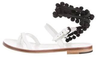 Álvaro González Leather Ankle Strap Sandals White Leather Ankle Strap Sandals