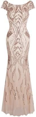 Angel-fashions Angel fashions Women's Bateau Cap Sleeve Floral Sequin Sheath V Back Evening Dress