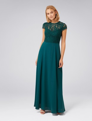 Forever New Macie Cap Sleeve Lace Bodice Gown - Teal Oasis - 4