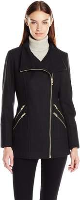 GUESS Women's Melton Wool Asymmetrical Zip Coat