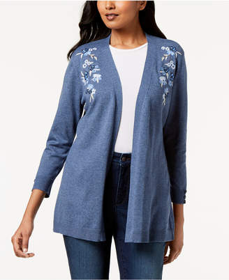 Karen Scott Petite Flower-Embroidered Open-Front Cardigan, Created for Macy's