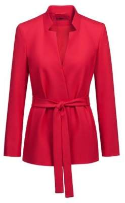 HUGO Relaxed-fit jacket in stretch crepe with tie waist