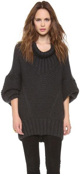 Donna Karan Long Sleeve Drape Neck Sweater