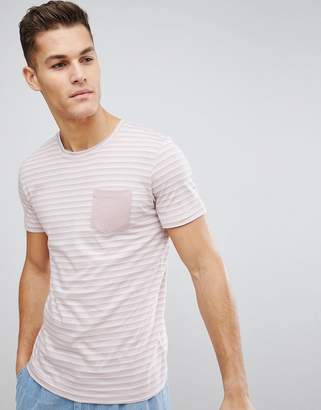 Selected T-Shirt With Stripe And Pocket