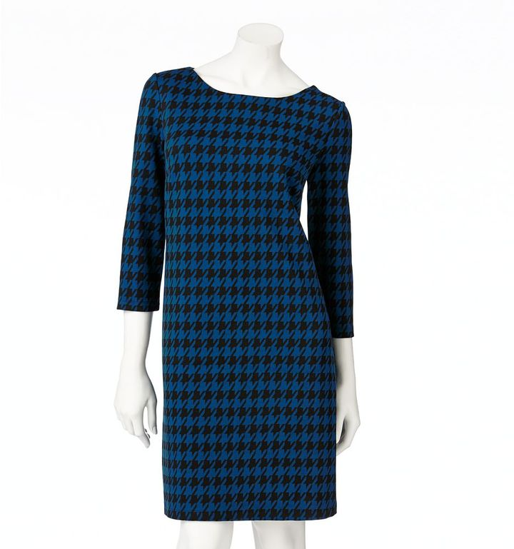 Apt. 9 houndstooth ponte shift dress