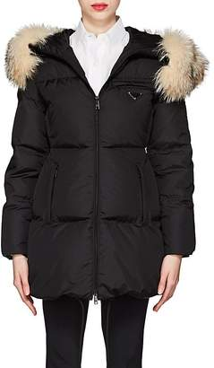 Prada Women's Fur-Trimmed Hooded Puffer Coat