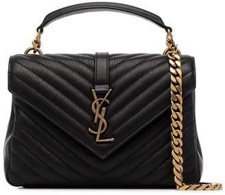 Saint Laurent black College medium quilted leather shoulder bag