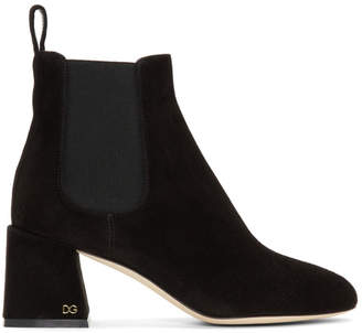 Dolce & Gabbana Black Suede Logo Boots