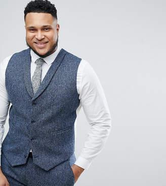 Asos DESIGN PLUS Slim Suit Vest in 100% Wool Harris Tweed In Blue Mini Check