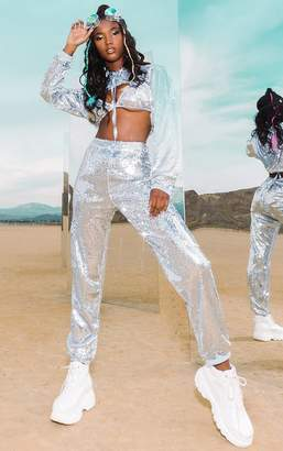 PrettyLittleThing Silver Sequin Joggers