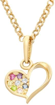 Junior Jewels Cubic Zirconia 14k Gold Cutout Heart Pendant Necklace