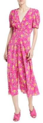 Saloni Lea Floral Button-Front Midi Dress