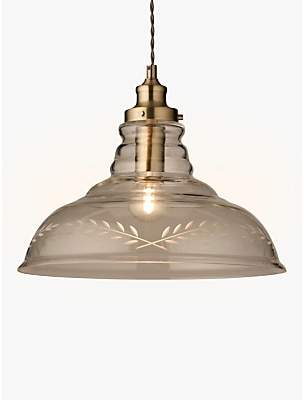 84e8ee77212b John Lewis & Partners Hadley Etched Glass Pendant Ceiling Light,  Clear/Antique Brass