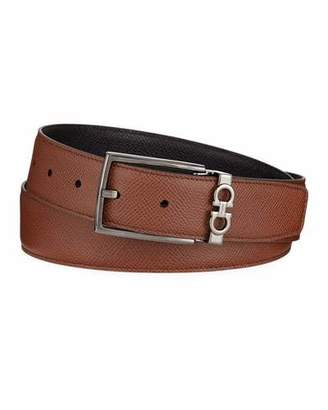 Salvatore Ferragamo Men's Textured Leather Belt with Gancini Detail