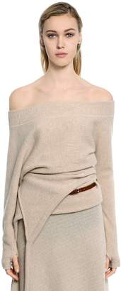 Paco Rabanne Asymmetrical Wool Blend Rib Knit Sweater