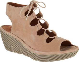 Clarks Artisan Leather Ghillie Wedge Sandals - Clarene Grace