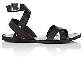 Barneys New York WOMEN'S LEATHER ANKLE-WRAP SANDALS-BLACK SIZE 8
