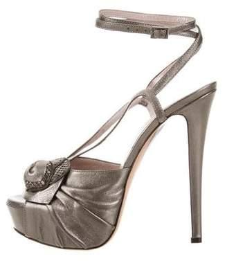 Versace Metallic Platform Sandals w/ Tags