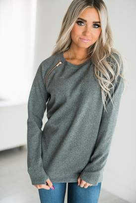Ampersand Avenue SideZip Pullover - Charcoal