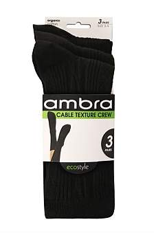 Ambra Organic Cotton Cable Texture Crew 3Pp