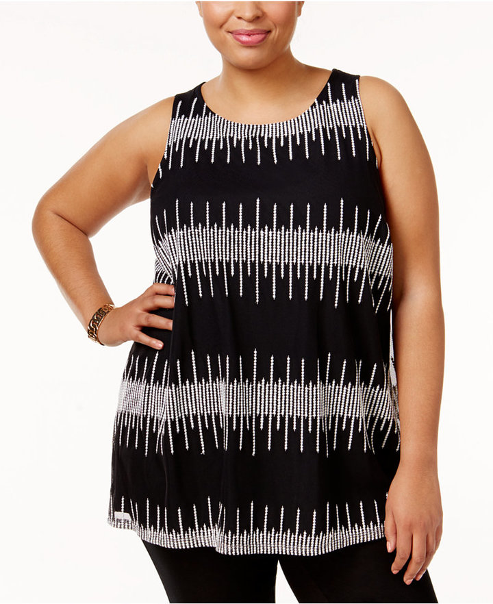 AlfaniAlfani Plus Size Embroidered Shell, Only at Macy's