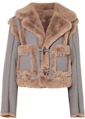 Opening Ceremony Insomniac Reversible Faux Fur And Houndstooth Cotton-blend Jacket - Gray