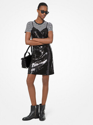 Michael Kors Sequined Crepe-Jersey Slip Dress