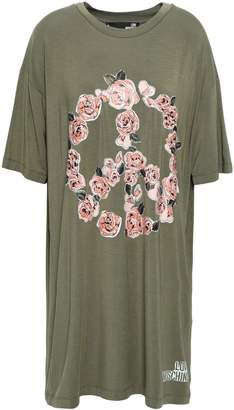 Love Moschino Floral-print Stretch-modal Mini Dress