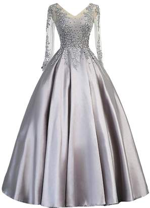 Kivary V Neck Sheer Long Sleeves Beaded Lace Formal Prom Dress Evening Gown US