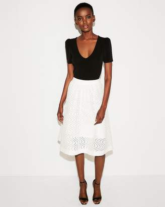 Express Eyelet Full Cotton Midi Skirt