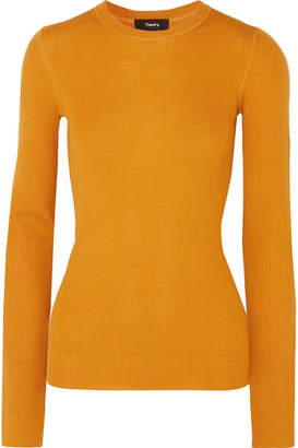 Theory Miriz Ribbed Merino Wool Sweater - Orange