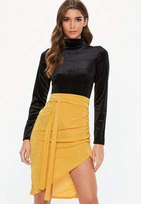 Missguided Yellow Slinky Asymmetric Midi Skirt
