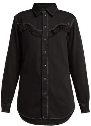 Ganni Kress Fringed Cotton Shirt - Womens - Black
