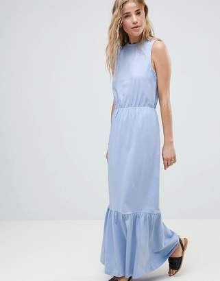 Asos Design Pep Hem Sleeveless Maxi Dress