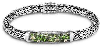John Hardy Sterling Silver Classic Chain Small Bracelet with Green Tourmaline, Chrome Diopside & Peridot