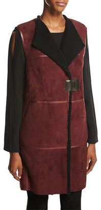 Lafayette 148 New York Celeste Long Leather-Trimmed Shearling Fur Vest, Cabernet/Black $2,498 thestylecure.com