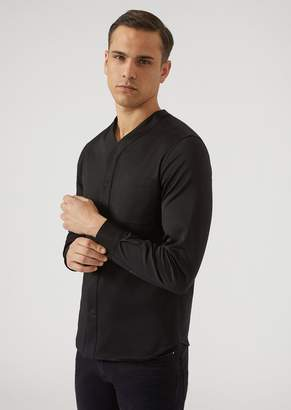 Emporio Armani Plain Jersey Shirt With V-Neck And Breast Pocket