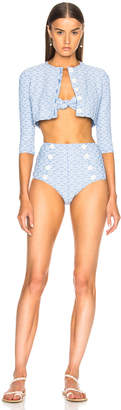 Lisa Marie Fernandez High Waist Bikini Set with Cardigan