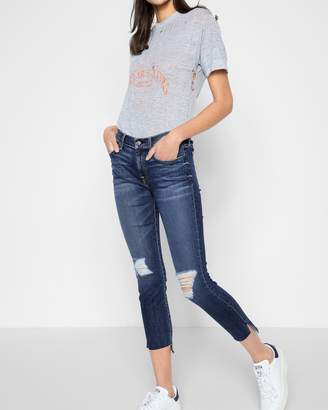 7 For All Mankind Ankle Skinny with Destroy and Step Hem in Midnight Desert